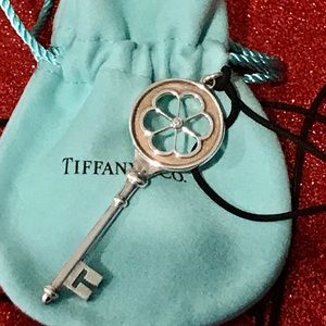 Tiffany & Co Sterling Daisy Key Pendant w/diamond